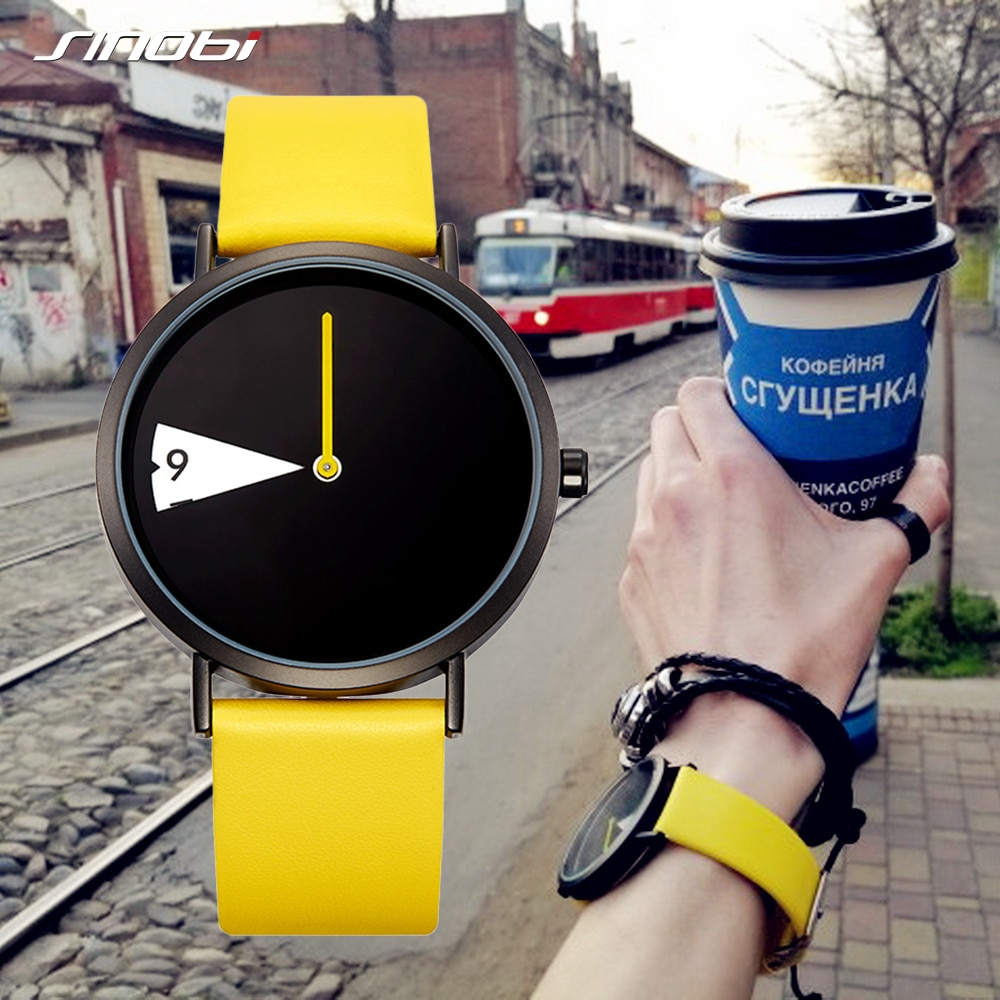 Sinobi Hot Women Watch Creative Wristwatch Lady Clock Rotate Yellow Leather Band Wristwatches Clock Montres Femme Reloj Mujer