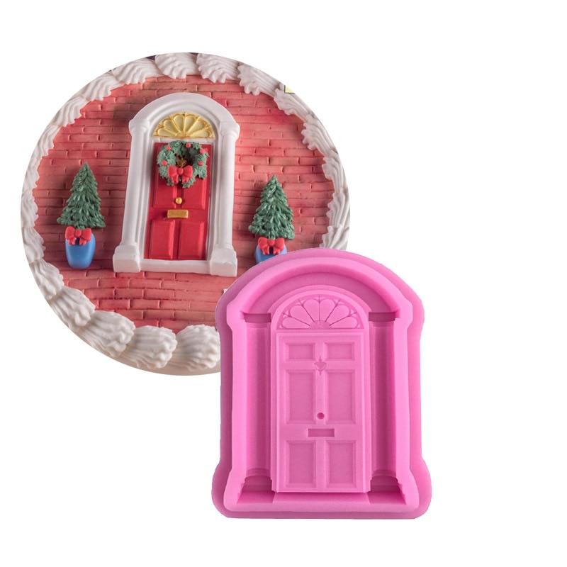 Puerta retro Borde de silicona para tartas moldes Navidad utensilios para decoración de tortas con fondant Gumpaste Chocolate moldes cocina hornear H240