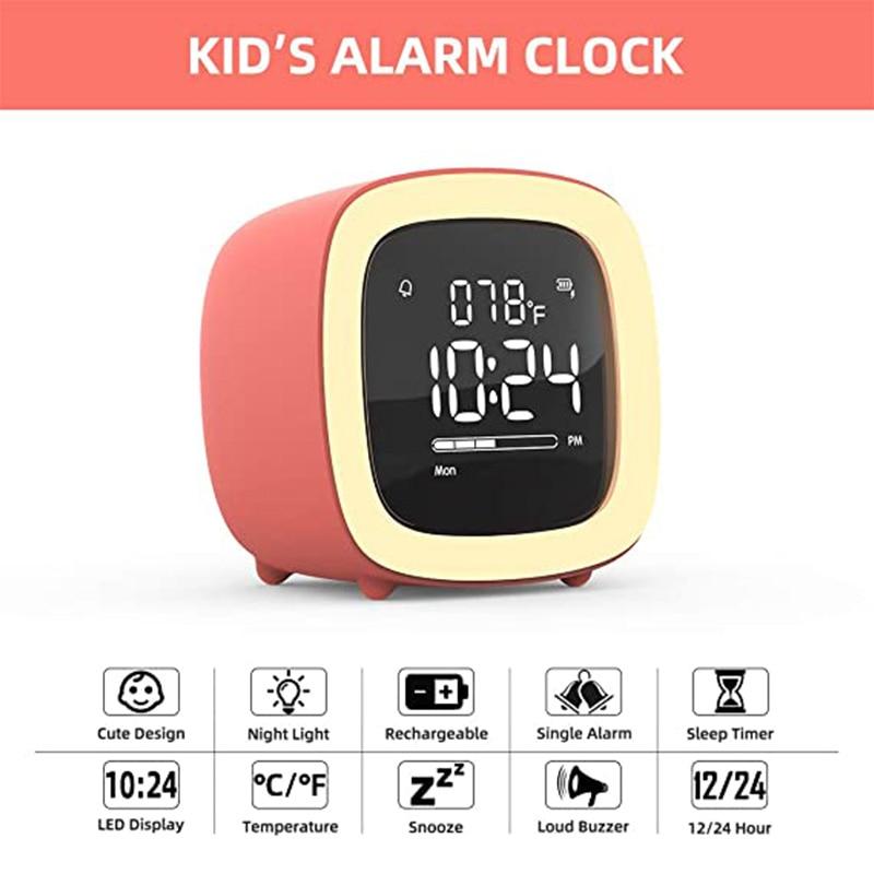 Детский будильник, милый ночник для телевизора, Будильник для детей, настольные часы с перезаряжаемой батареей