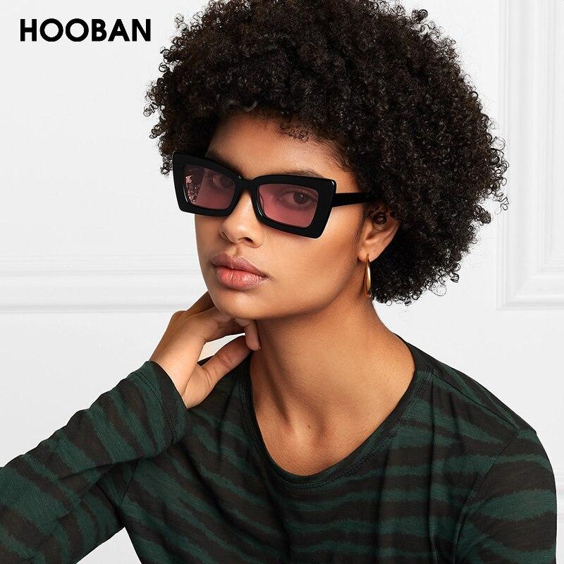 HOOBAN Vintage Rectangle Women Men Sun Glasses Fashion Cateye Brand designer Sunglasses Female Male