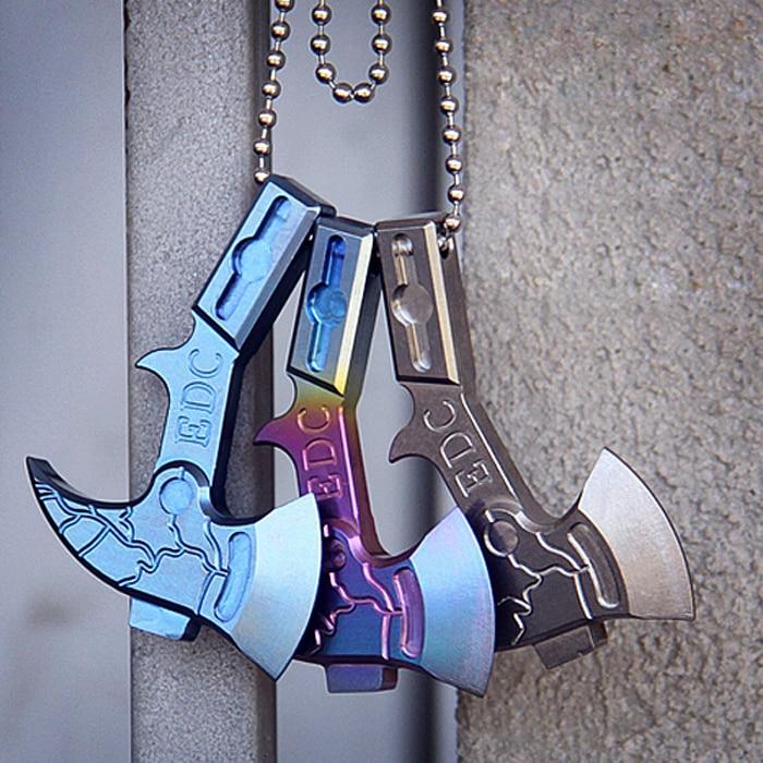EDC Titanium Alloy TC4 Knife Beads Axe Keychain Knife Pocket Axe Thor Tritium Gas Lamp Pendant Outdoor Self Defense Tool