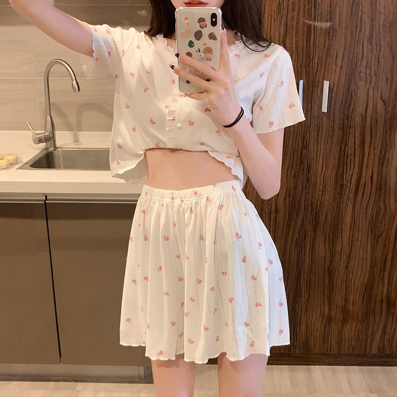 Broken Flower Pajamas Women's Summer Thin Ice Silk Two-piece Set 2021 New Lovely Sweet Home Clothes
