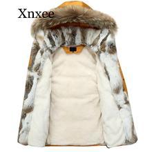 5XL White Jacket  Women Winter Goose Feather Coat Long Raccoon Fur Parka Warm Rabbit Plus Size Outerwear