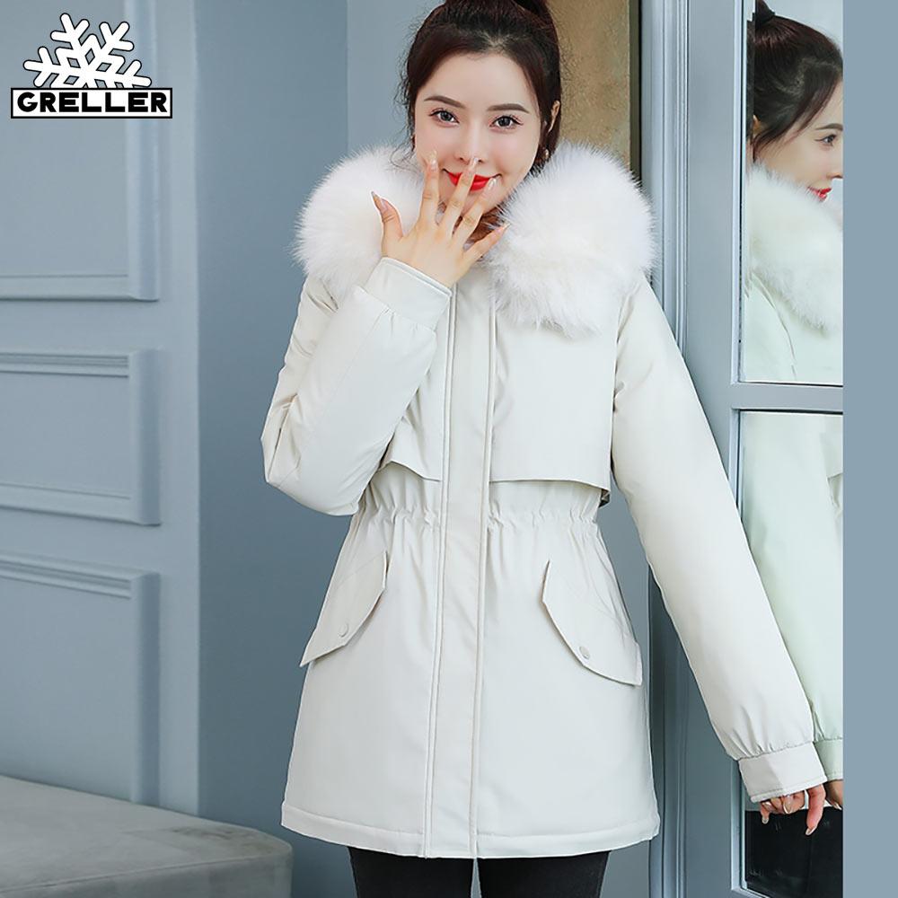 GRELLER 2021 جديد الشتاء سترة المرأة سترات معطف مقنع قصيرة الفراء بطانة القطن مبطن الدافئة الإناث سترة معطف أبلى
