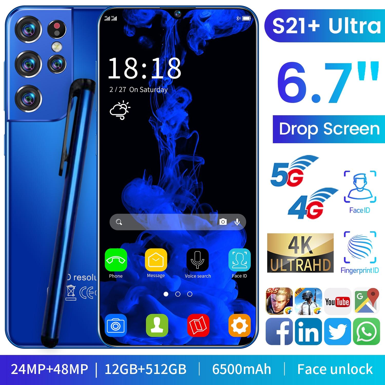 الإصدار العالمي 6.7 بوصة S21 + الترا الهاتف المحمول 12G + 512G 6500mAh 24 + 48 ميجابكسل HD + قطرة الماء شاشة 4g/5G الهواتف الذكية الإنترنت