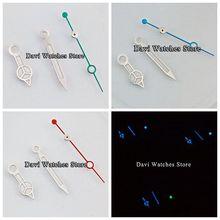 Manecillas de reloj luminosas plateadas azules/verdes/Rojas Ajuste de aguja MIYOTA 8205 8215 821A DG2813/3804 Gaviota ST1612 movimiento