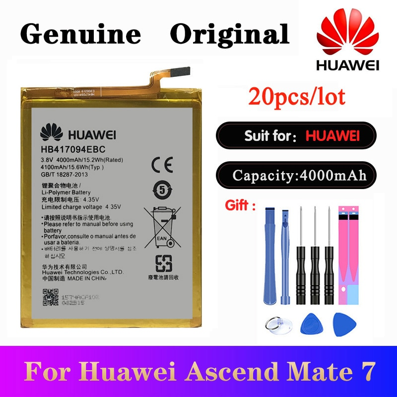 20pcs/lot Battery HB417094EBC For Huawei Ascend Mate 7 MT7 TL00 TL10 UL00 CL00 Original Phone bateries 4100mAh AKKU