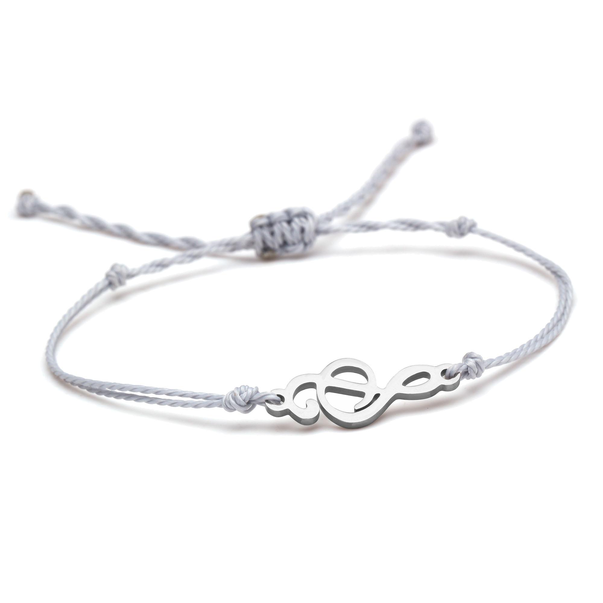 Bonita pulsera con notación Musical de acero inoxidable para mujer, joyería artesanal hecha a mano