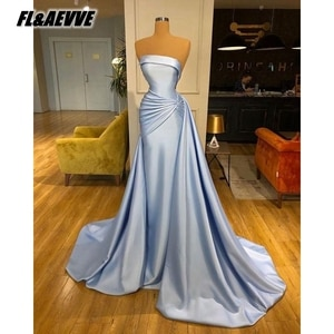 Real Picture Silver Evening Dress Long 2021 Mermaid Strapless Floor Length Evening Prom Party Gowns