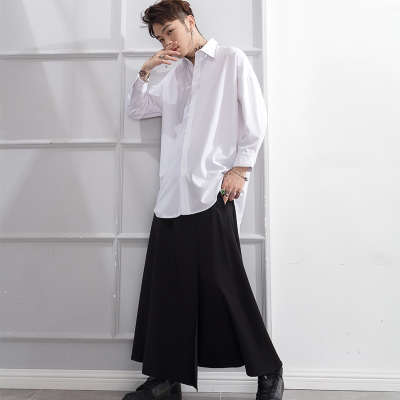 Non Mainstream Men's and Women's Low-grade Trousers with Belt Decoration Skirt and Trousers Irregular Alternative Fashion Trend