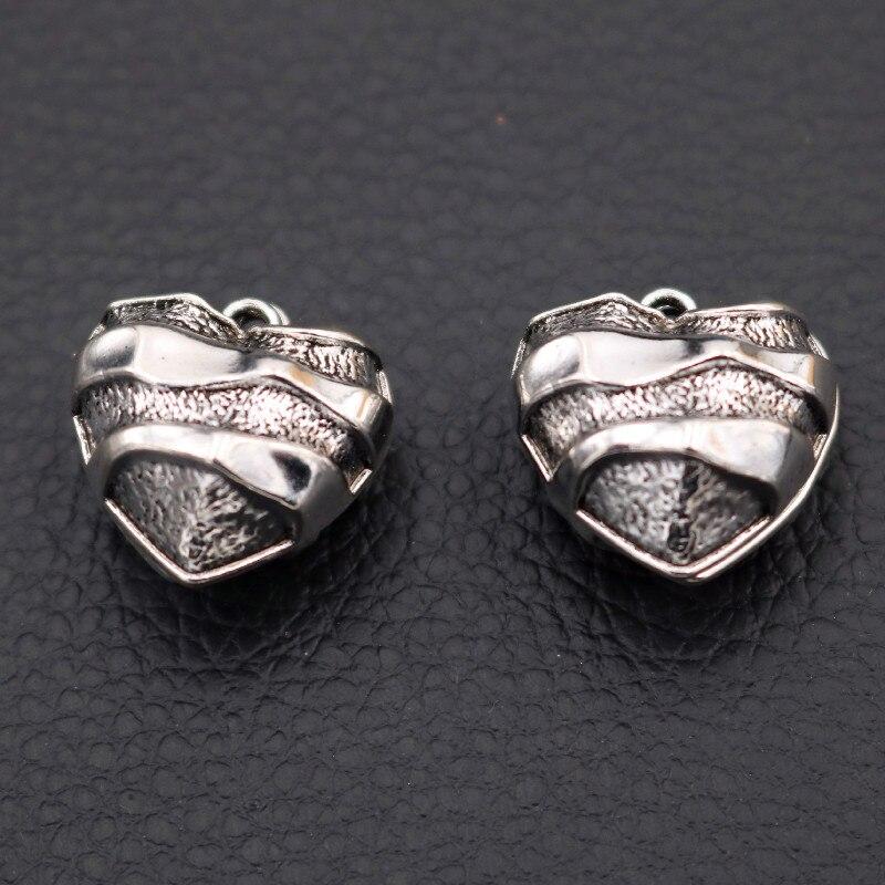 Colgante de corazón a la moda, amuletos de corazón medio 3D, amuletos de corazón de 20mm, amuletos de pareja, accesorio de pulsera de collar de Metal DIY A2142 10 Uds