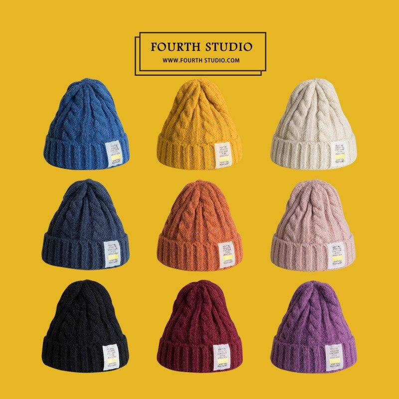 Шапка унисекс, зимние облегающие шапки, вязаные утепленные шапки, повседневные трикотажные шапки в стиле ретро-хоп, женская вязаная облегаю...