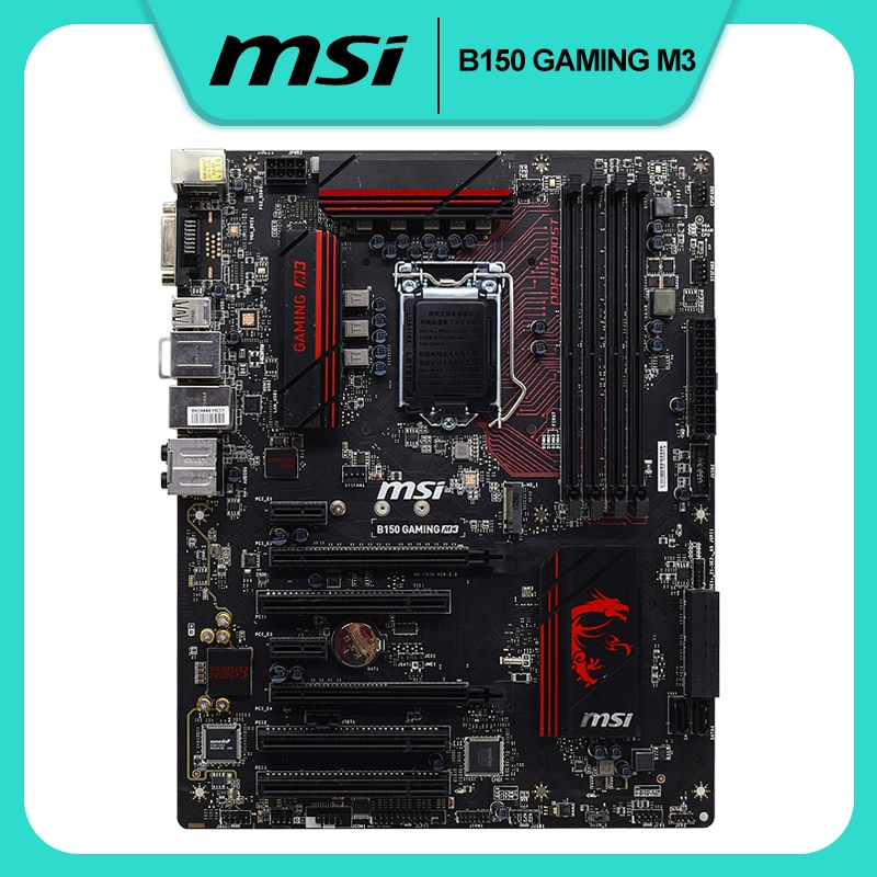 اللوحة الأم MSI B150 GAMING M3 ، Intel B150 ، LGA 1151 Core i7/i5/i3 ، DDR4 ، 64 جيجابايت ، PCI-E 3.0 ، سطح المكتب ، مستخدمة ، M.2