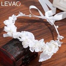 Levao White Flower Crown Headband Bracelet for Bride Wedding Headwear Romantic Pearl Floral Garland Wreath Head Hoop Headpieces