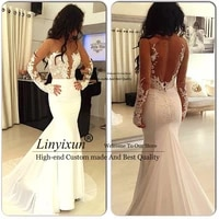 sexy long sleeve mermaid prom dresses deep v neck long sleeve lace formal evening dresses white open back long evening gowns