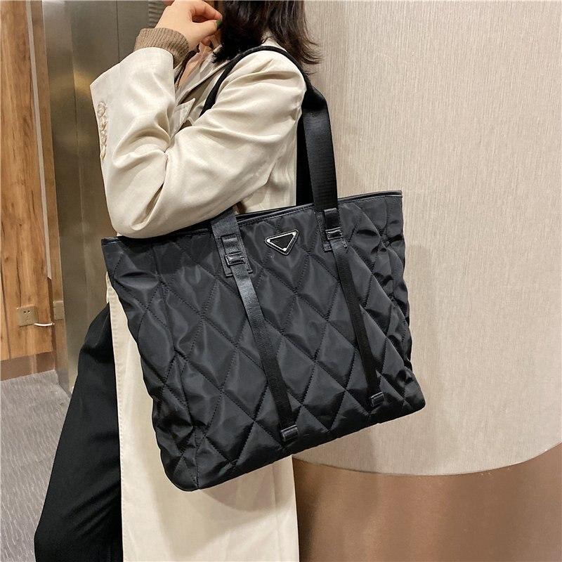Designer Brand Women's Tote Bag Rhombus Check Shoulder Bags Large Capacity Female Handbag High Quality Nylon Shopping Bag