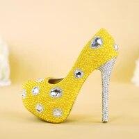 womens pumps round toe platform pearl rhinestone wedding shoes high heels yellow female shoes a345