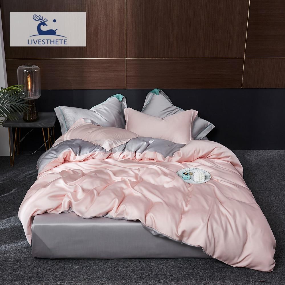 Liv-Esthete الوردي 100% طقم فراش من الحرير المنسوجات المنزلية الجمال النوم طقم سرير الملكة الملك حاف الغطاء ورقة المجهزة ورقة المخدة