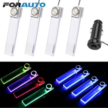 FORAUTO 4 pièces lumière ambiante LED atmosphère lumière lampe décorative porte bol poignée accoudoir lumière voiture-style intérieur porte lumière