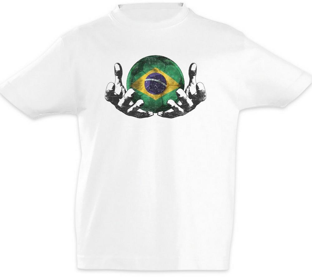 Brasil fútbol bola mágica para los niños Tops Tee T camisa brasileño de fútbol bandera campeonato de moda de la marca de camiseta