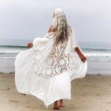 2020 nouveau Bikini cache-Up Sexy ceinturé robe dété blanc dentelle coton tunique femmes grande taille vêtements de plage maillot de bain couvrir