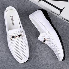 Summer Men Casual Shoes Luxury Brand Summer Genuine Leather Mens Loafers Moccasins Hollow Out Slip o