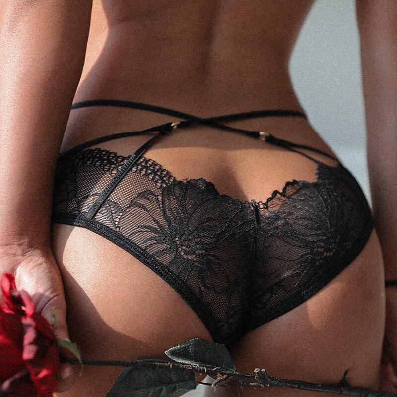 Calcinha de renda sexy calcinha feminina cruz banda transparente cueca arco sem costura tanga cintura alta string briefs tanga