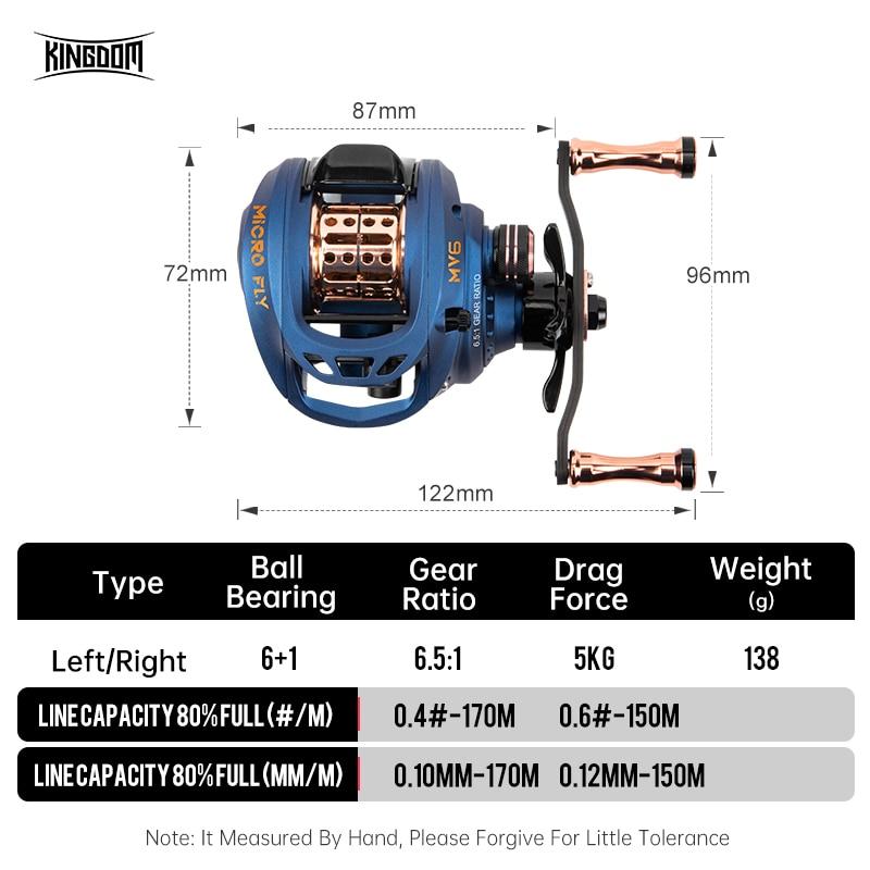 Kingdom Micro-fly Baitcasting Reel 138g Ultralight 5KG Drag Force 6+1 BB Aluminum Alloy Reels Right Left Handle Fishing Reels enlarge