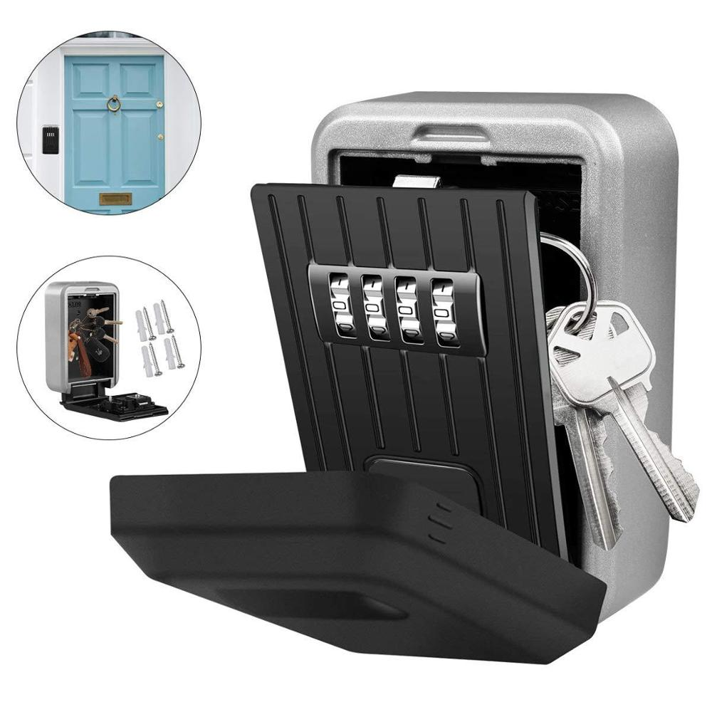 Wall Mounted Key Safe Box Mini Storage Keybox Key Storage Lock Box with 4 Digit Combination Waterproof Cover For Outdoor Use