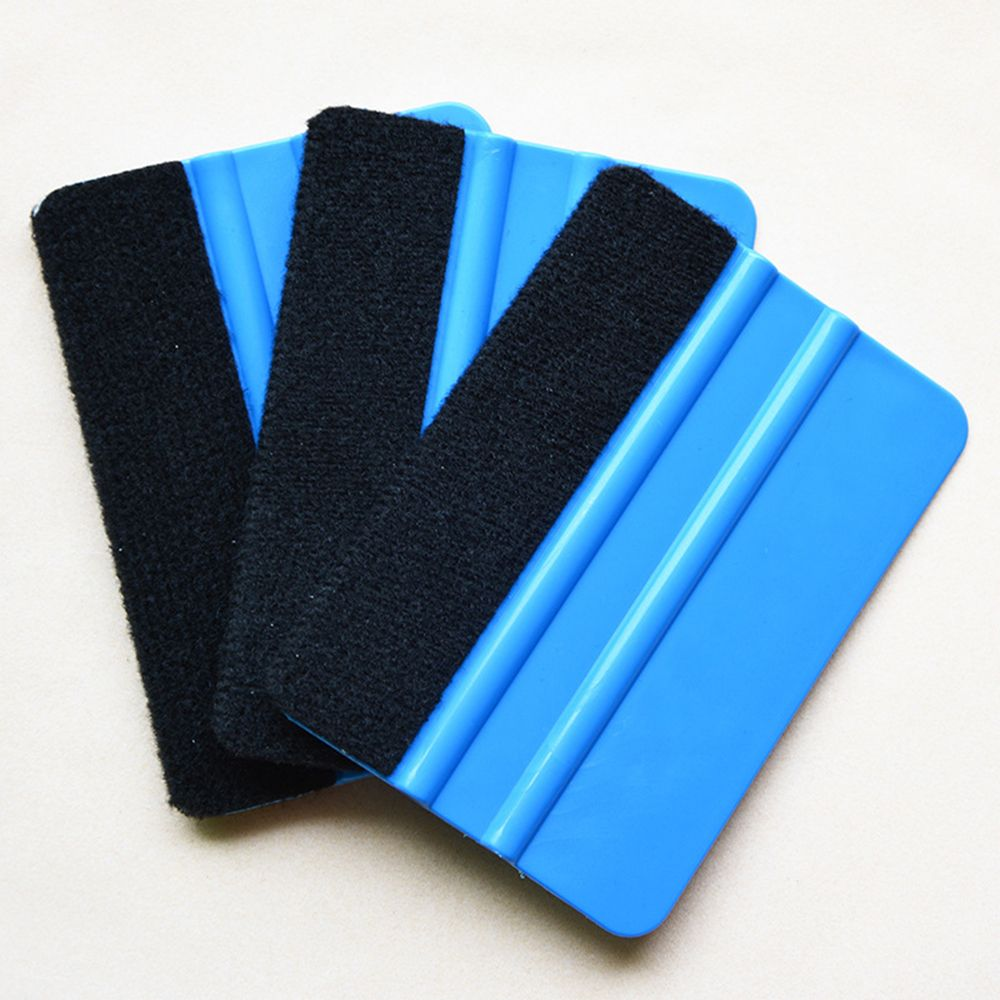 1pc Auto Styling Vinyl Carbon Fiber Window Ice Remover Cleaning Wash Car Scraper With Felt Squeegee Tool Film Wrapping 10x7cm