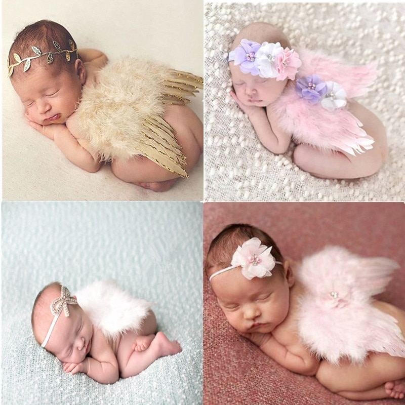Newborn Photography Accessories Angel Wing Baby Photo Props Handmade Costumes For Infants Fotografia Crochet Costumes For Baby
