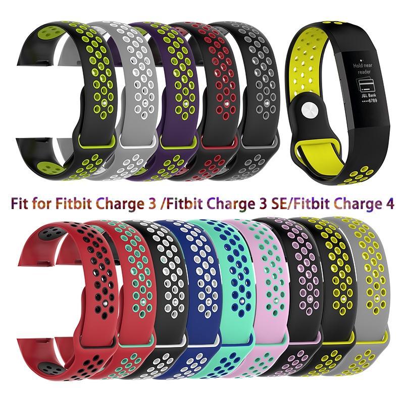 حزام ل Fitbit تهمة 3 SE الفرقة استبدال حزام الساعات ساعة ذكية الرياضة تنفس سيليكون سوار Fitbit تهمة 4 الفرقة