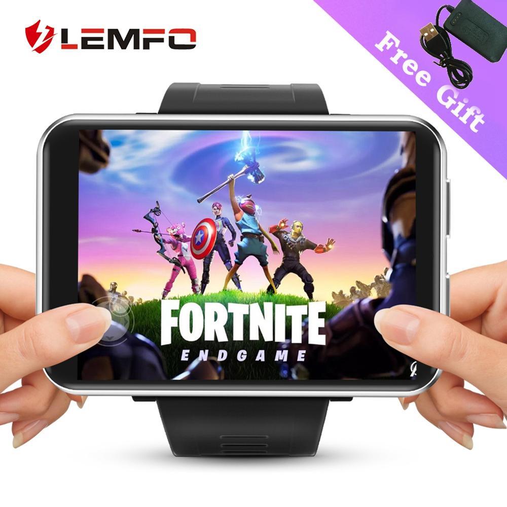 Lemfo 4g relógio inteligente android 7.1 3gb + 32gb 2.86 polegada lemt jogo smartwatch homens apoio 5mp câmera sim cartão gps wifi grande bateria