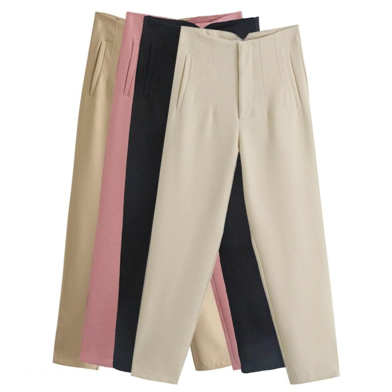 Aonibeier Za 2021 женские весенние брюки костюмы с высокой талией брюки модные офисные женские бежевые Элегантные повседневные женские брюки