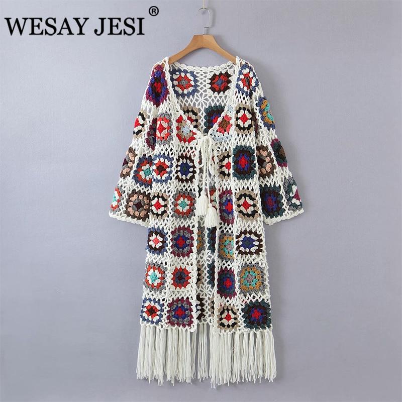 WESAY JESI Women Clothing Cardigan TRAF ZA Fashion Hand-Made Crochet Full Print National Style Jacquard Long Sweaters Cardigan enlarge