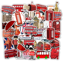 50Pcs England Landmark British London Bus Stickers Telephone Decorative Laptop Scrapbook Luggage Refrigerator Graffiti Sticker