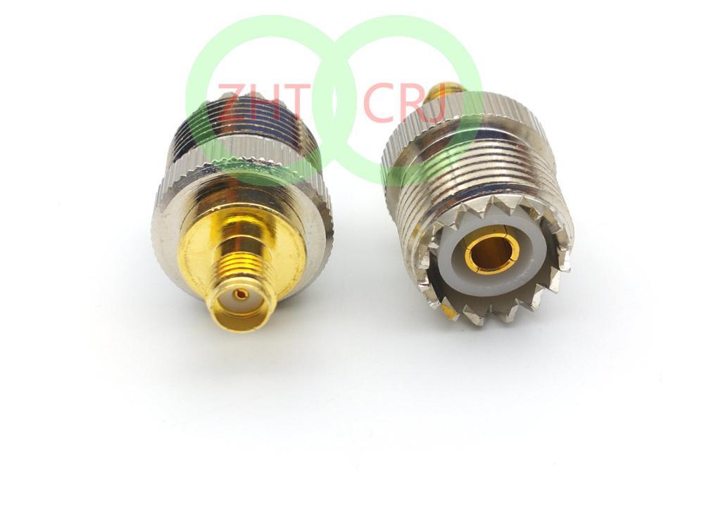50 قطعة النحاس UHF الإناث SO-239 جاك إلى SMA الإناث جاك RF مستقيم محول موصل