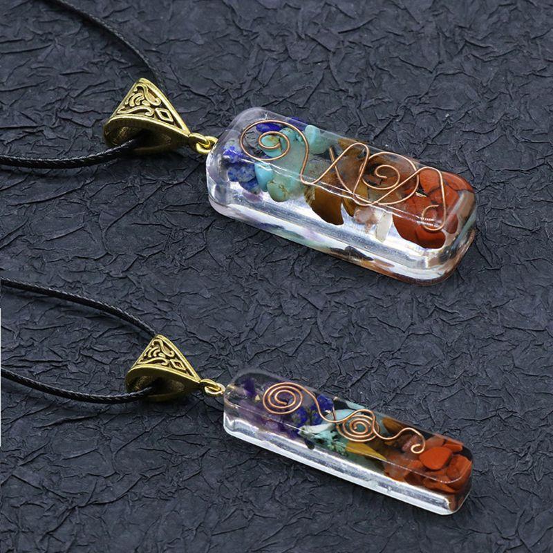 7 Чакр кристаллы Камни ОРГОН кулон энергия оргонит шестигранное ожерелье чакры