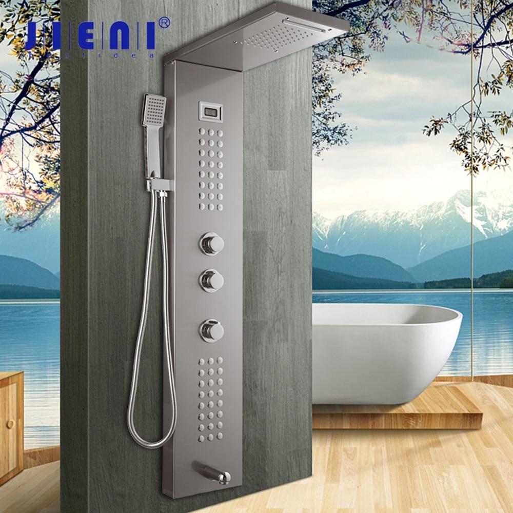 JIENI نحى النيكل الحائط الحمام عمود دوُش استحمام مقبض واحد دش يدوي حوض صنبور نظام تدليك دش الاستحمام
