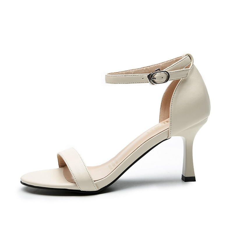 2021 summer office black high heels sexy party stiletto sandals apricot strap buckle women's fashion comfortable women's shoes