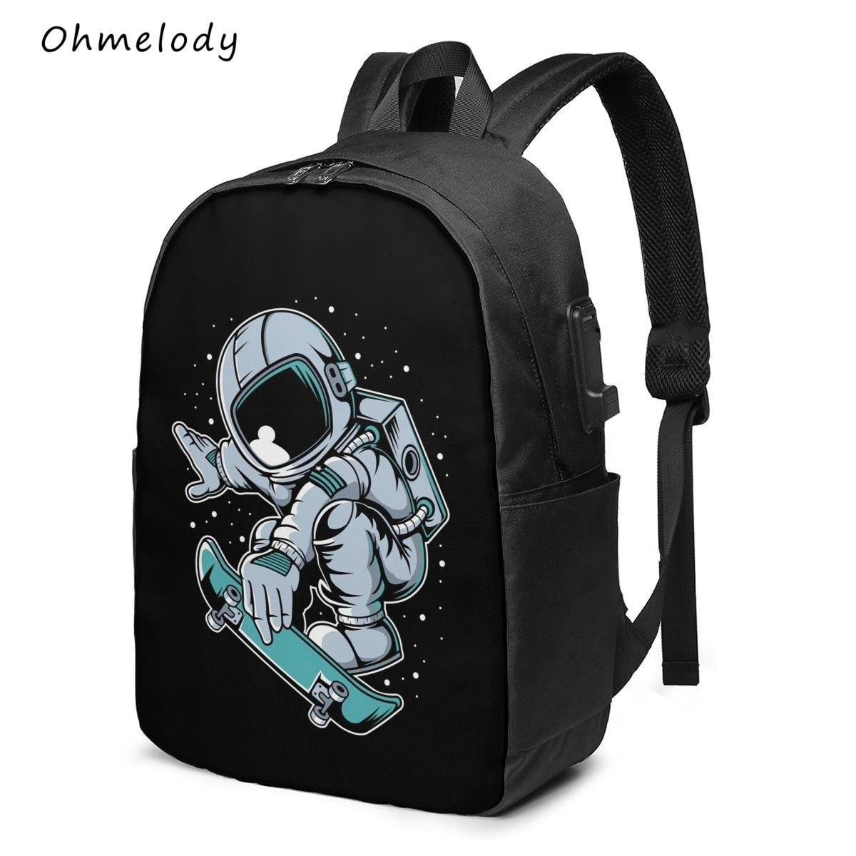 Teenage Boys 17in Laptop Backpack Water Resistant Durable Cartoon Astronaut School Bag College Backp