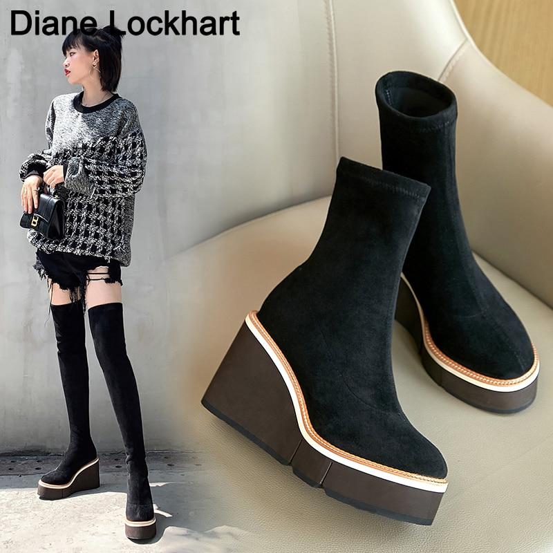 أحذية شتوية نسائية فوق الركبة موضة 2021 ، أحذية بنعل عريض وكعب عالي ، أحذية مرنة سهلة الارتداء للدراجات النارية ، أحذية بنعل عريض