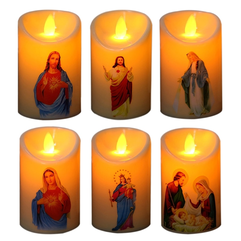 Jesus Christ Candles Lamp Led Tealight Romantic Pillar Light Creative Flameless Electronic Candle Battery Operated