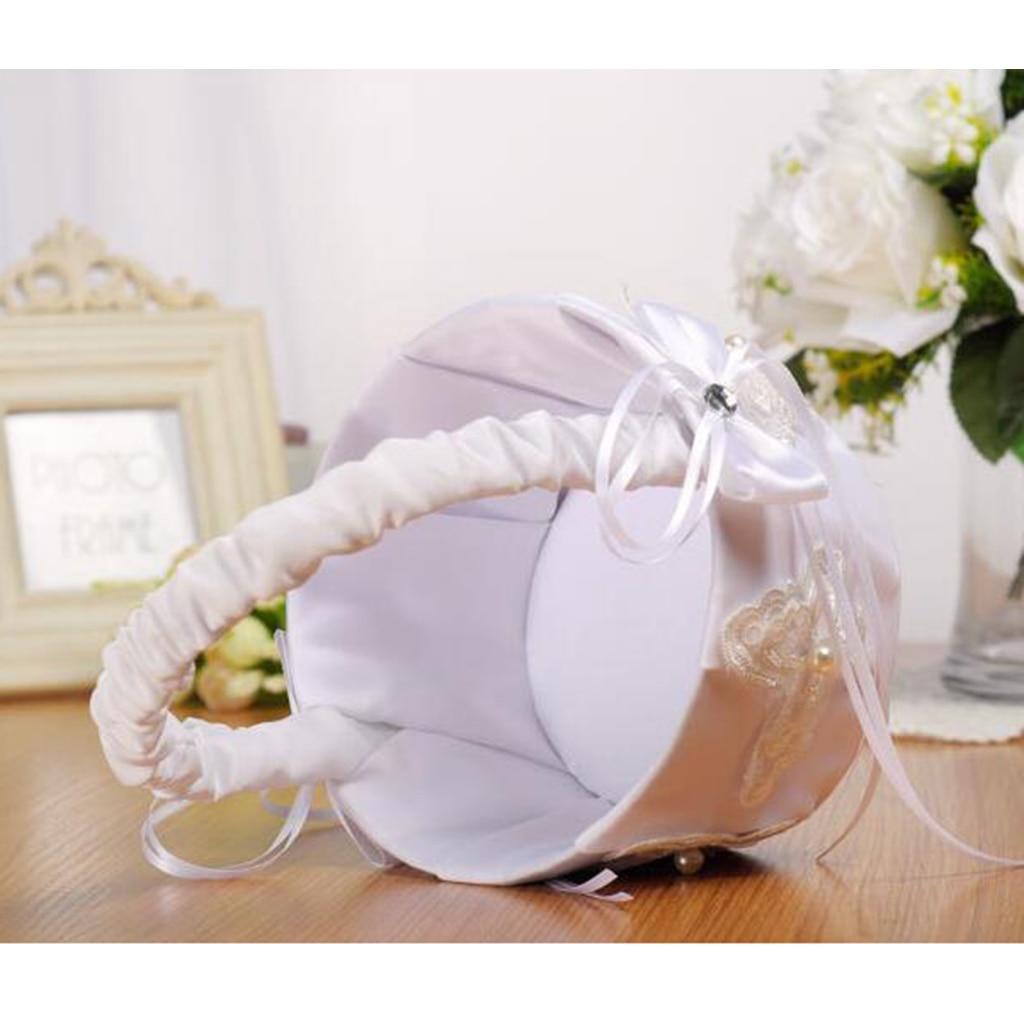 Flor menina cesta cerimônia cetim cesta armazenamento doces pequeno presente confetes cartão recipiente festa de casamento decoração
