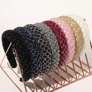 Fashion Full Crystal Headbands For Women Shiny Padded Rhinestone Hairbands Thicken Bezel Hair Hoop Hair accessories Headwear
