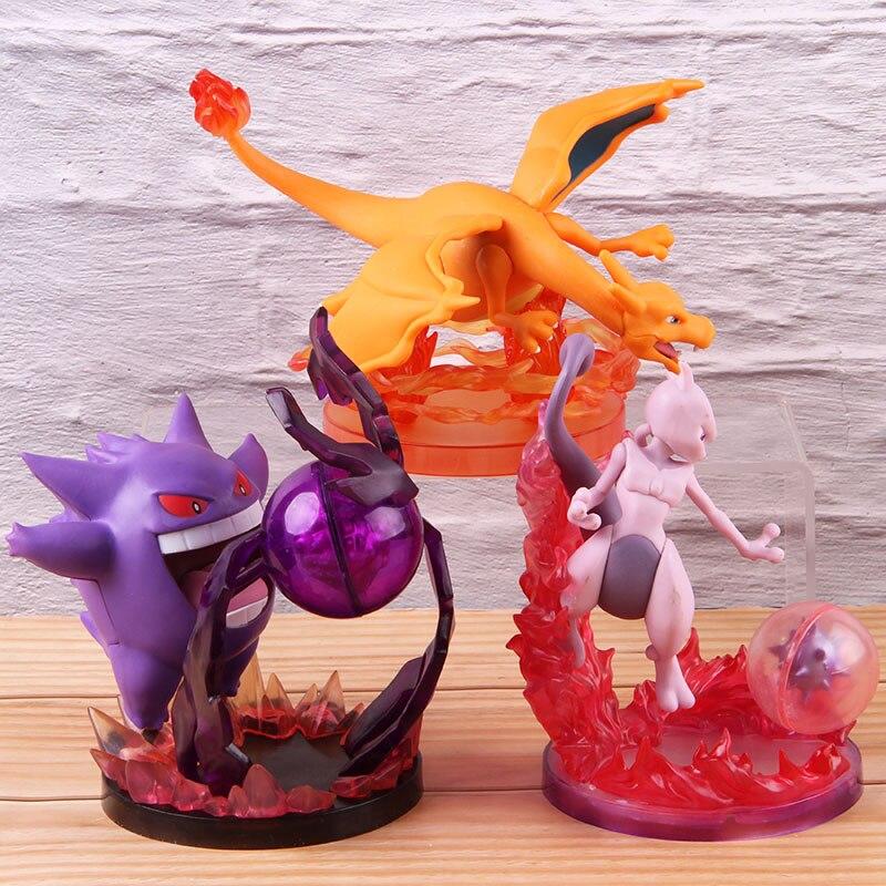 Juguetes calientes Anime dibujos animados Monster Mewtwo Gengar Charizard figuras PVC Acrion figura coleccionable modelo muñeca de juguete
