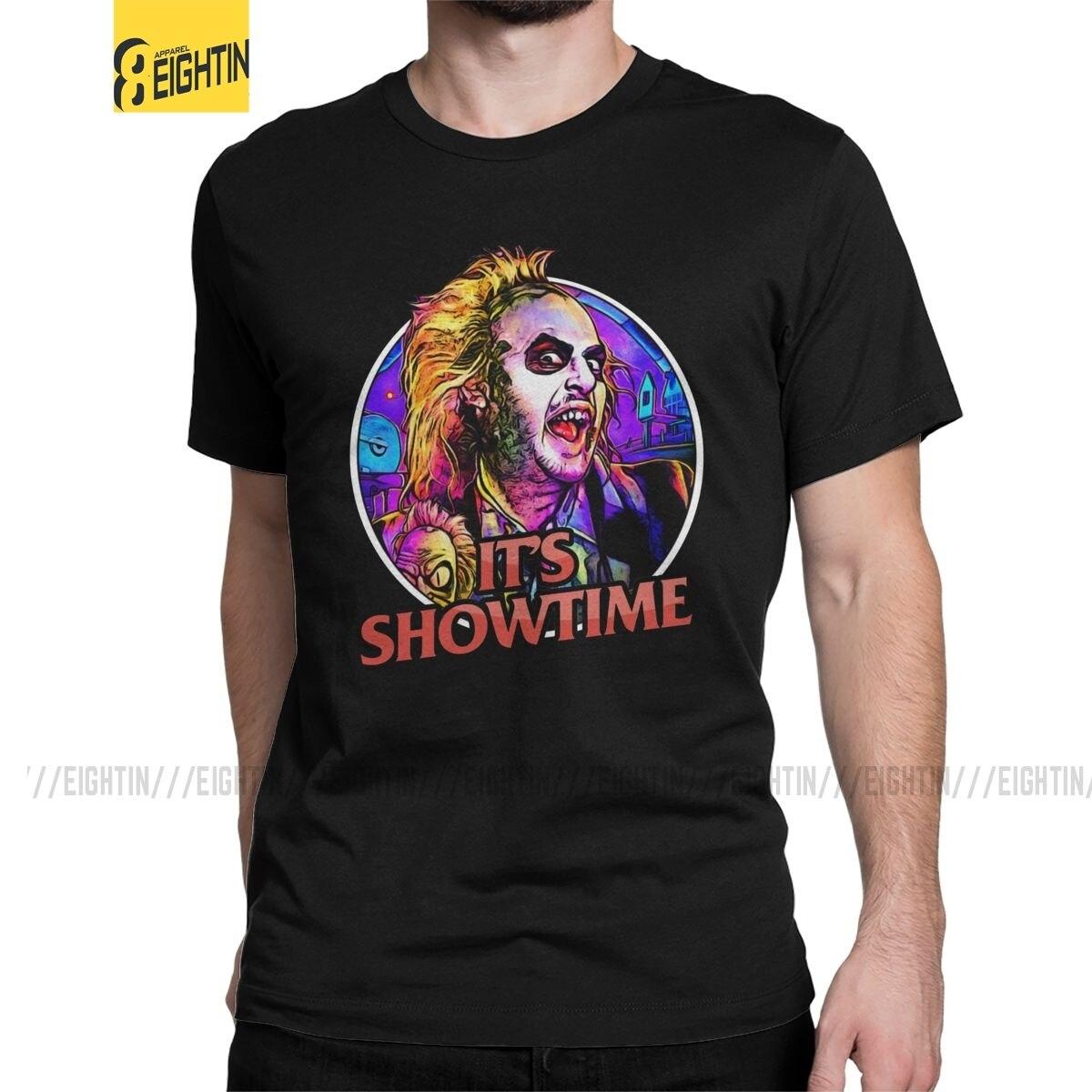 Divertido es ShowtIme Beetlejuice camisetas de algodón para hombres Camiseta de manga...