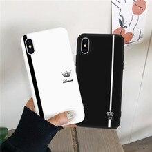 JAMULAR Roi Reine Couple Amoureux Pour iPhone X XS MAX X XR 11 Pro SE 2020 7 8 6plus Noir Blanc Souple En Silicone Couverture de Téléphone Sac