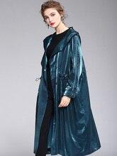 Sexy Trench manteaux 2019 automne hiver nouveau à capuche lâche grande taille à manches longues coupe-vent femmes mode Streetwear solide