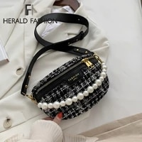 woolen pearl fashion women chest bag chain fanny pack waist bag brand belt bag female waist pack pu leather belly crossbody bag